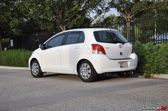 Toyota Yaris 5-Door with the Sustec Pro S-0C Coilovers on the tallest setting